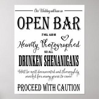 Impresión abierta de la barra del boda moderno de