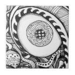 impresión abstracta blanco y negro del ojo azulejo cerámica