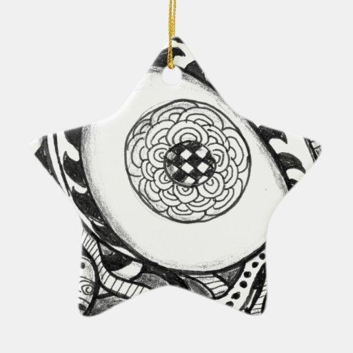 impresión abstracta blanco y negro del ojo adorno de cerámica en forma de estrella