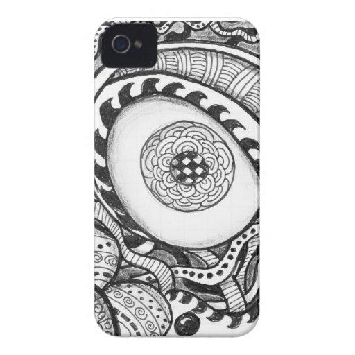 impresión abstracta blanco y negro del ojo iPhone 4 cárcasas