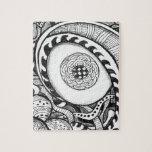 impresión abstracta blanco y negro del ojo puzzle con fotos