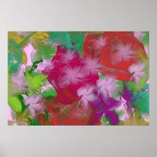 Impresión abstracta de la lona de arte de la flor poster