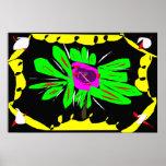 Impresión abstracta de la lona de la flor posters