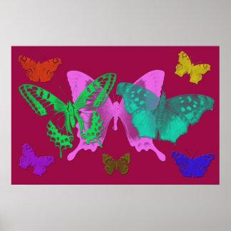 Impresión abstracta de la lona de las mariposas impresiones