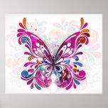 Impresión abstracta decorativa de la mariposa poster