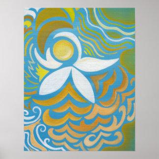 Impresión abstracta del arte del lirio de agua