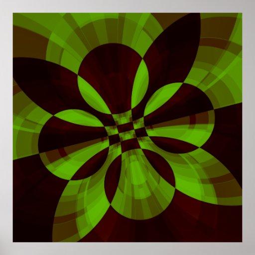 Impresión abstracta del fractal de la tecnología póster