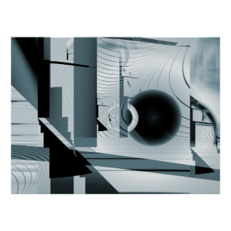 Impresión abstracta del fractal del bulevar póster