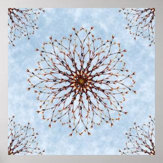 Impresión abstracta desnuda del poster del árbol y