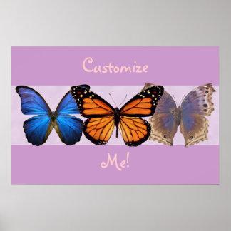 Impresión adaptable de tres mariposas bonitas póster