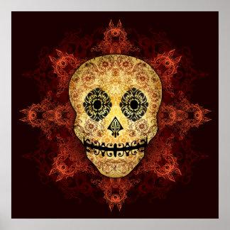 Impresión adornada del cráneo del azúcar de la lla póster