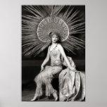 Impresión adornada hermosa del bailarín del vintag poster