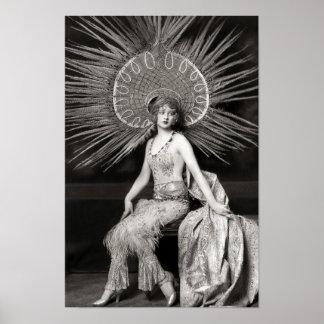Impresión adornada hermosa del bailarín del vintag póster