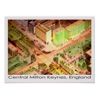 Impresión aérea central del poster de Milton Keyne