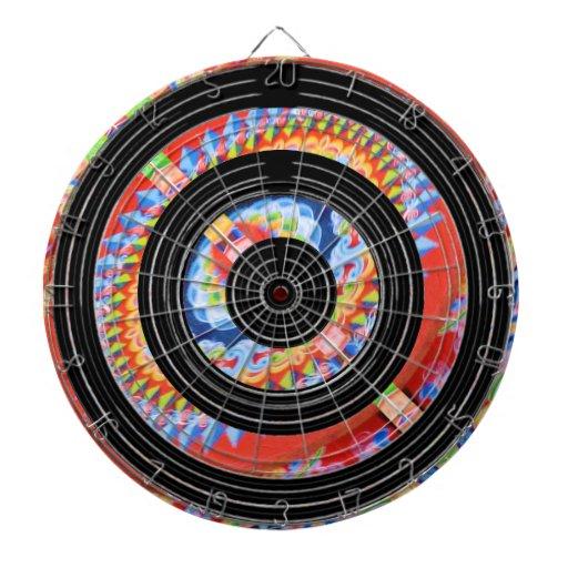 Impresión agrandada de la joya en las ruedas negra tablero de dardos