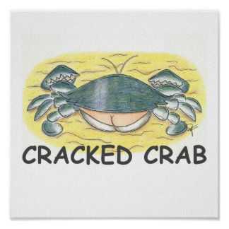 Impresión agrietada del cangrejo póster