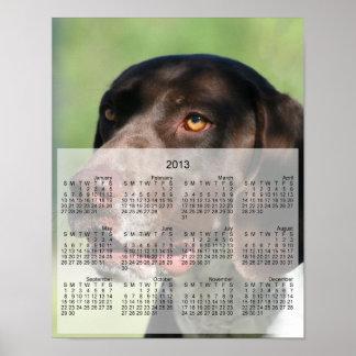 Impresión alemana del calendario del perro 2013 de poster
