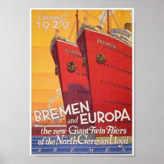 Impresión alemana del poster de la publicidad del