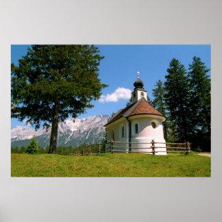 Impresión alpina de la capilla póster