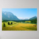 Impresión alpina de las tierras de labrantío poster