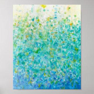 impresión amarilla clara de las azules turquesas póster