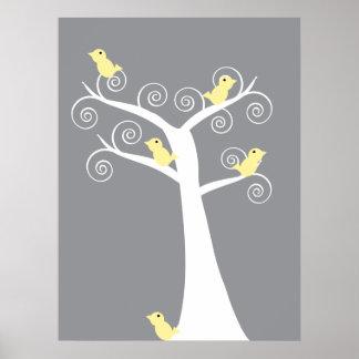 Impresión amarilla de 5 pájaros póster