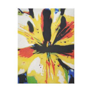Impresión amarilla de la lona de arte abstracto de lienzo envuelto para galerías