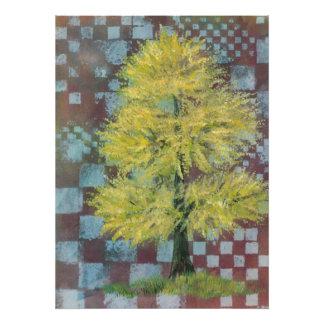 Impresión amarilla del árbol de nuez