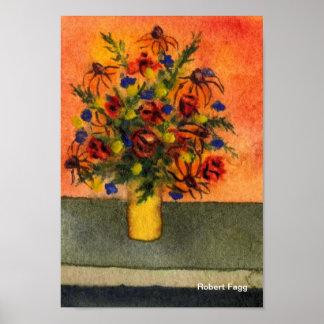 Impresión amarilla del arte del florero póster