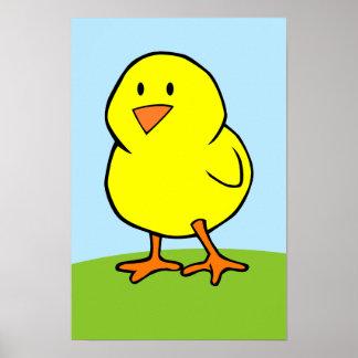 Impresión amarilla del polluelo póster