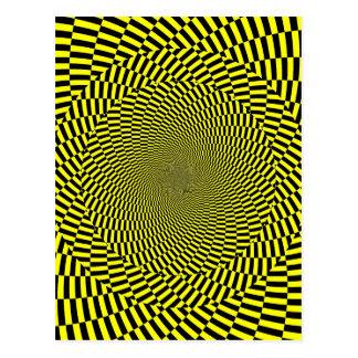Impresión amarilla negra del espiral del modelo de postal