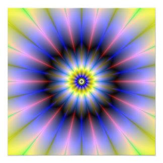 Impresión amarilla y azul rosada de la foto de la