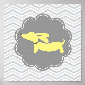 Impresión amarilla y gris del arte del cuarto de