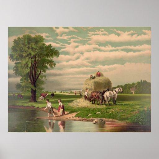 Impresión americana de la cosecha del heno impresiones