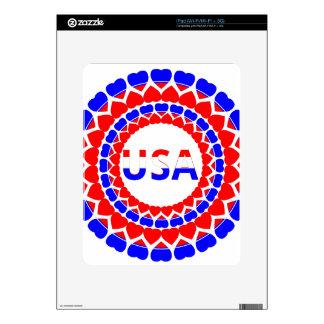 Impresión americana del corazón - azul blanco rojo calcomanía para el iPad