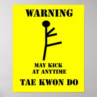 Impresión amonestadora del poster del Taekwondo