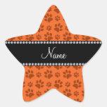 Impresión anaranjada conocida personalizada de la calcomanias forma de estrella