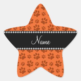 Impresión anaranjada conocida personalizada de la calcomanías forma de estrella