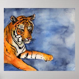 Impresión anaranjada del arte de la acuarela del p poster