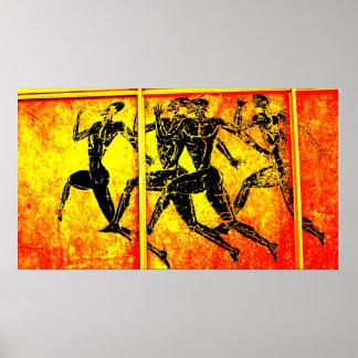 Impresión anaranjada del maratón de Atenas Posters