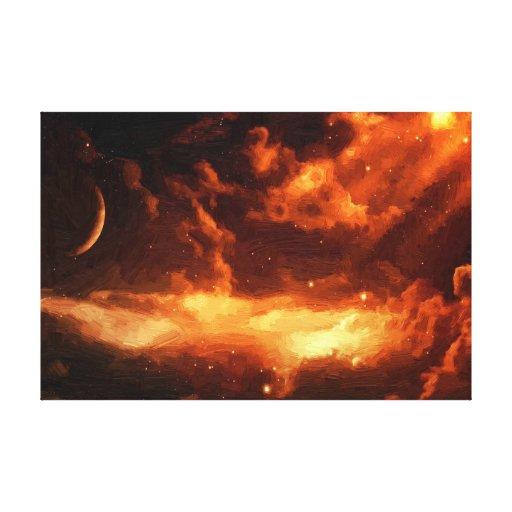 Impresión anaranjada majestuosa de la pintura al ó lona envuelta para galerías