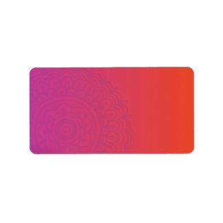Impresión anaranjada roja de la MANO de HAMSA sus  Etiqueta De Dirección