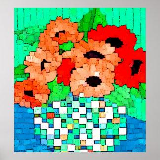 Impresión anaranjada roja de las flores póster