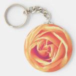 Impresión anaranjada suave del rosa llavero personalizado