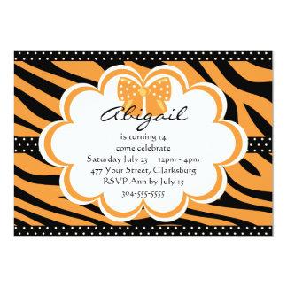 Impresión anaranjada y negra del tigre invitación 12,7 x 17,8 cm
