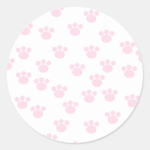 Impresión animal de la pata. Modelo rosa claro y Pegatina Redonda