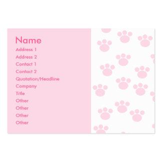 Impresión animal de la pata. Modelo rosa claro y Tarjetas De Visita Grandes