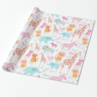 Impresión animal del cuarto de niños del safari papel de regalo