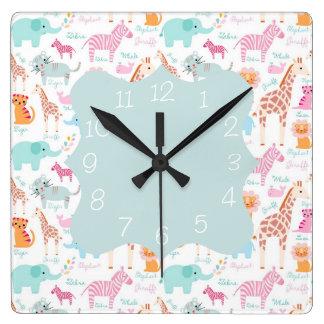 Impresión animal del cuarto de niños del safari reloj cuadrado