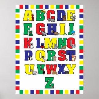 Impresión animal del poster del alfabeto (colores